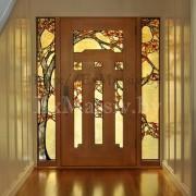 Двери из массива с витражом из дуба стекло