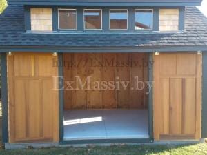 Деревянные раздвижные врата из лиственницы