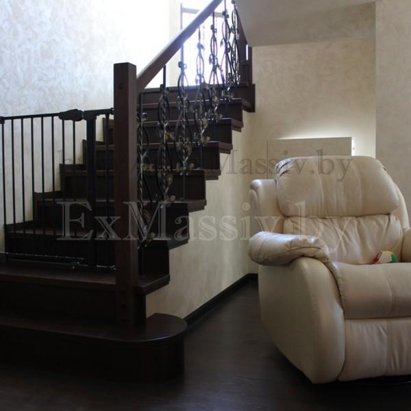 облицовка бетонной лестницы дубом