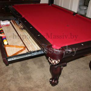 Бильярдный стол из ольхи и ясени с комодом для кия